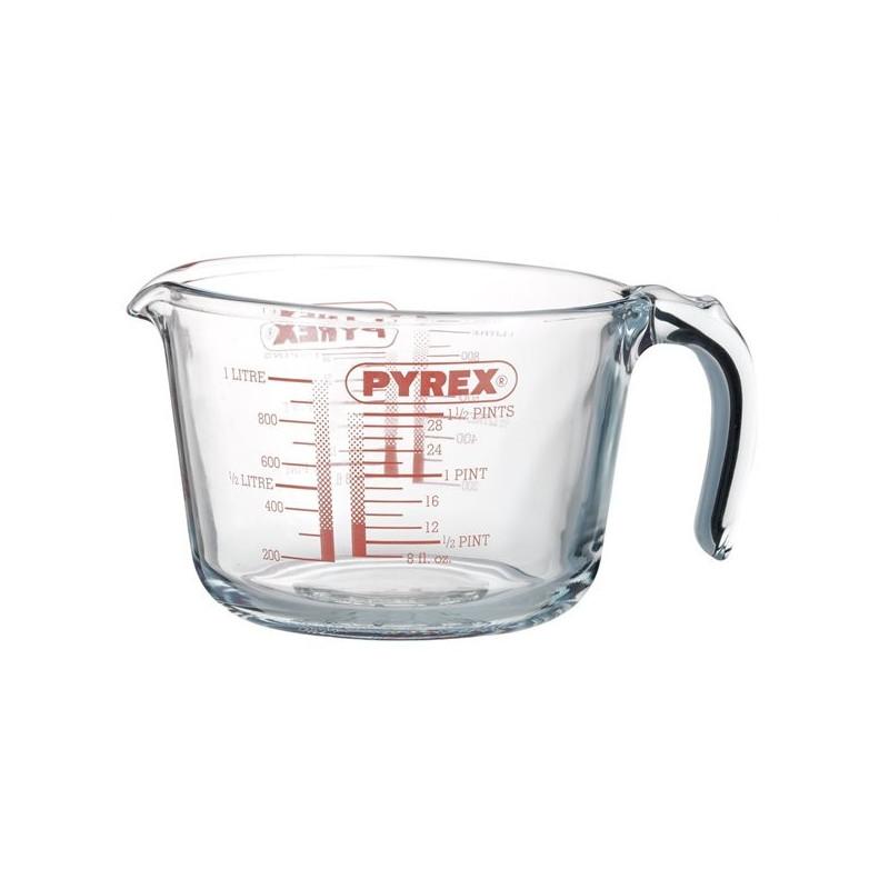 Pyrex liter mål i glas.