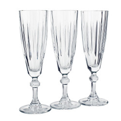 Champagneglas med dekoration på stilken.