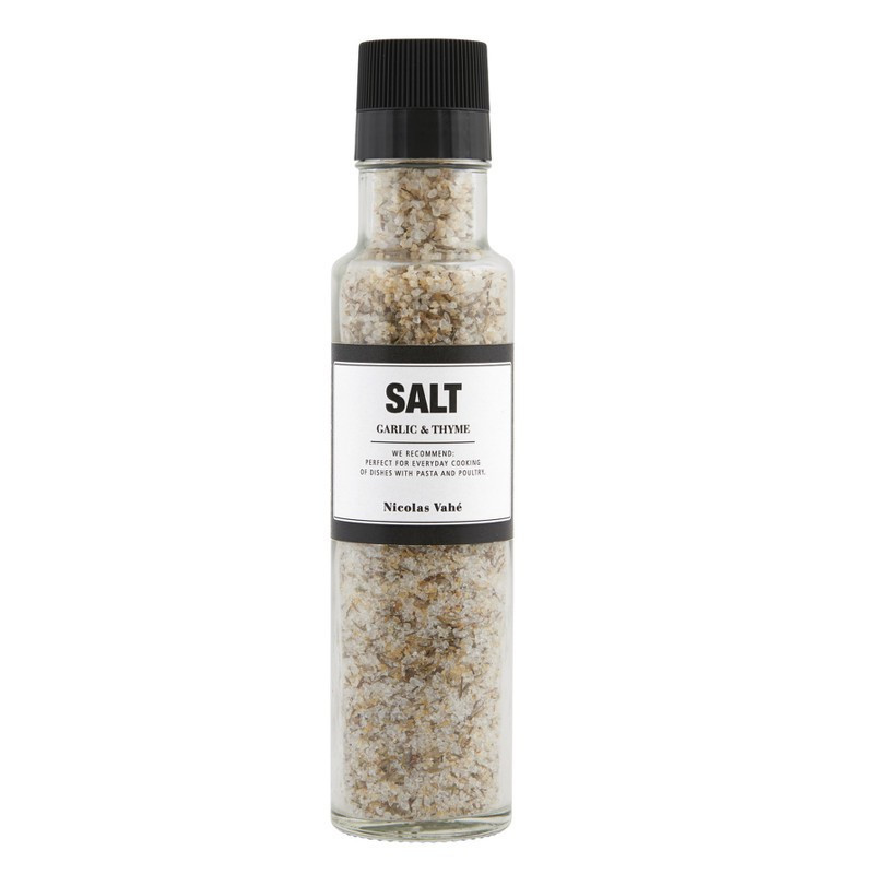Salt med hvidløg og timian. Nicolas Vahé delikatesser.