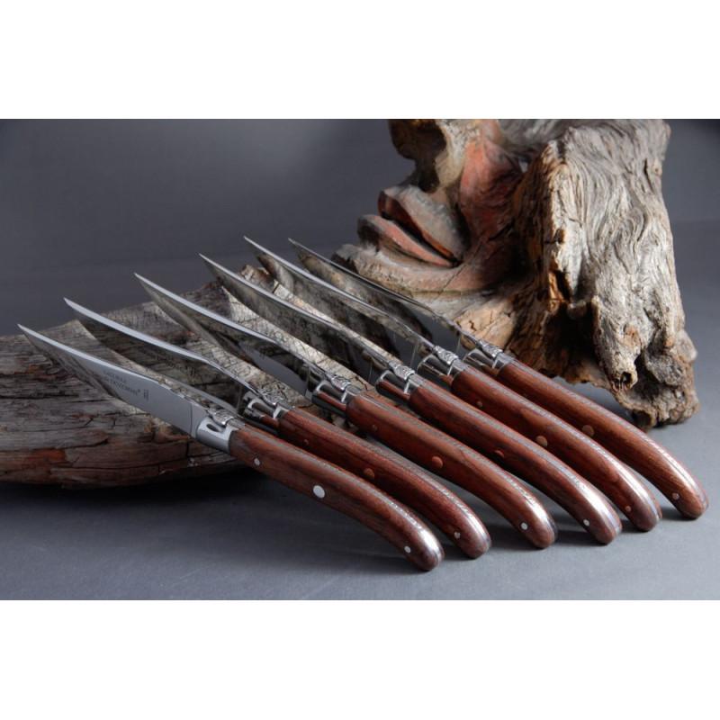 Håndlavet Laguiole knive med rosentræ. Claude Dozorme.