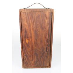 Stuff design skærebræt med saftrille og læder. Sheesham 25 x 50 x 4 cm.