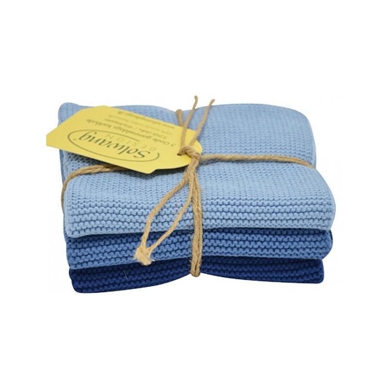 Solwang strikkede karklude i flotte farver. Blå.