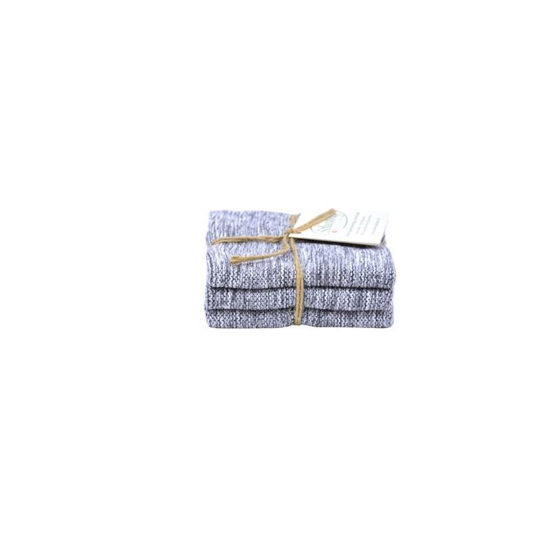 Solwang strikkede karklude i flotte farver. Mix sort.