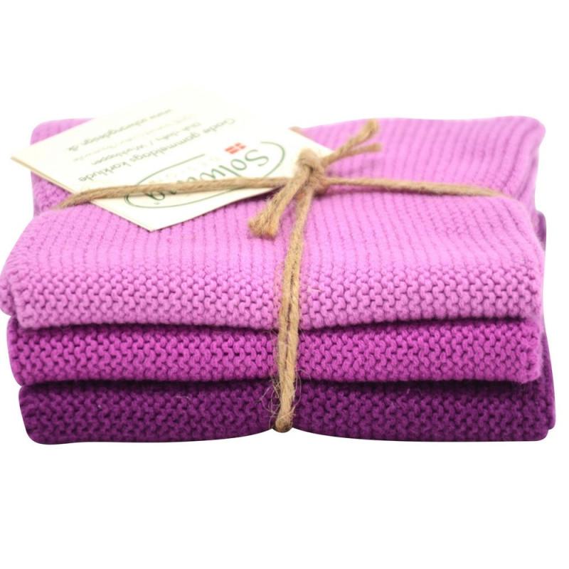 Solwang strikkede karklude i flotte farver. Lyng.