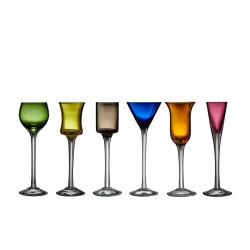 Farvede snapseglas fra Lyngby glas