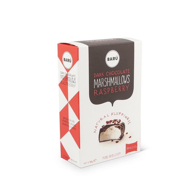 Barû marshmallows med hindbær og mørk chokolade.